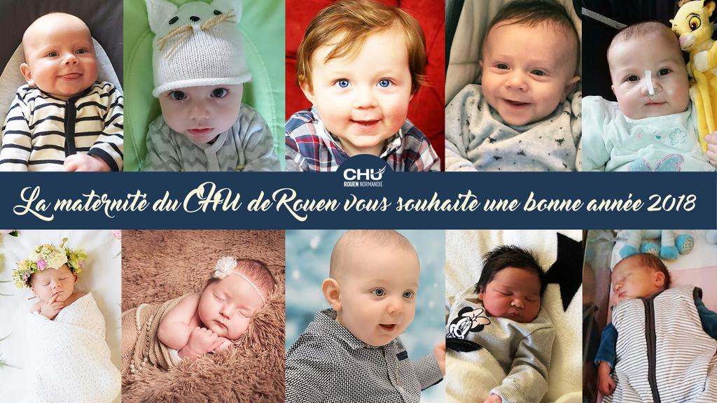 Carte de vœux 2018 de la maternité du CHU de Rouen